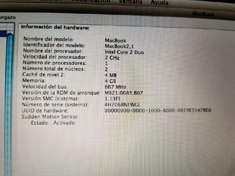 Apple macbook a1181 leer descripción