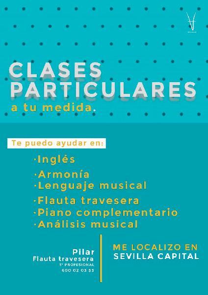 Clases de flauta travesera, piano, inglés...