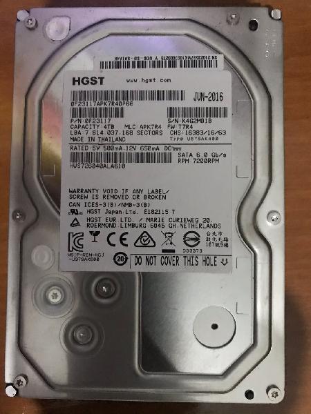 Disco duro 4 tb. sata 7200 rpm