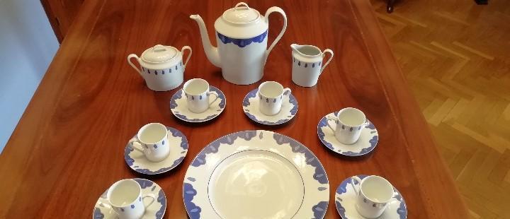 Juego de cafe frances limoges color azul y blanco - vintage
