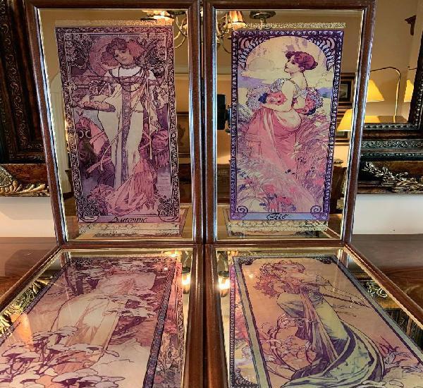 Las cuatro estaciones alphonse mucha - 4 espejos decorativos