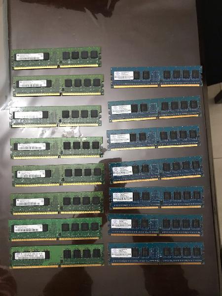 Lote de memorias ram ddr-2 512gb