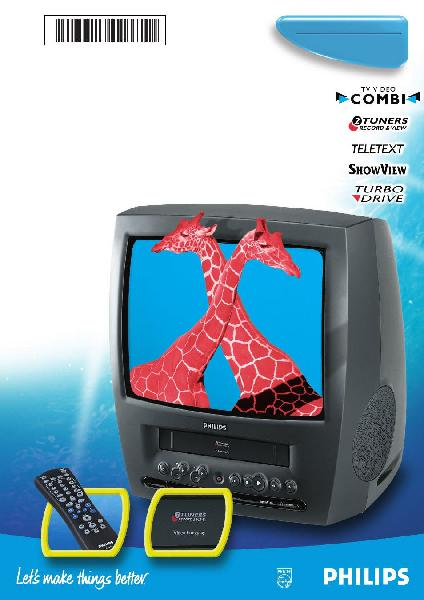 "Philips tv 14"" combi vhs record - retro"
