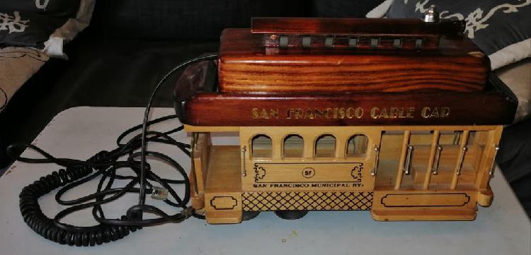 Teléfono fijo de madera tranvía de san francisco