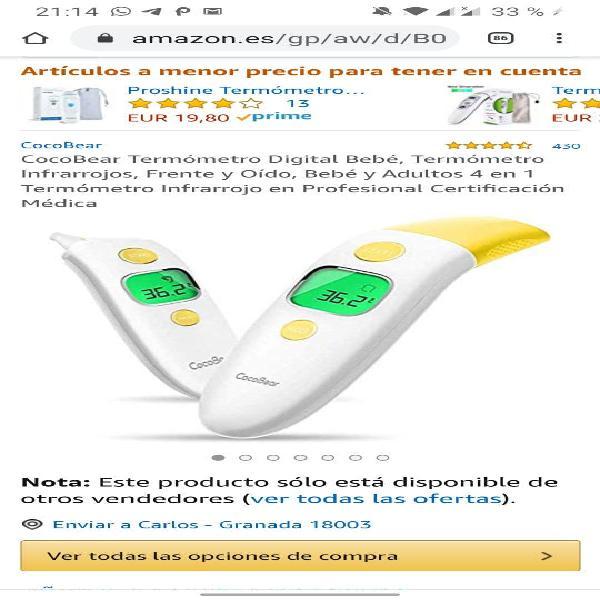 Termómetro digital bebé, termómetro infrarrojos, f