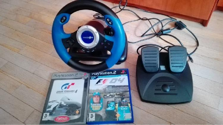 Volante, pedales y dos juegos play 2