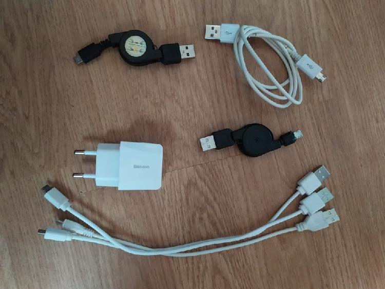 Cargador baseus doble y 6 cables micro usb