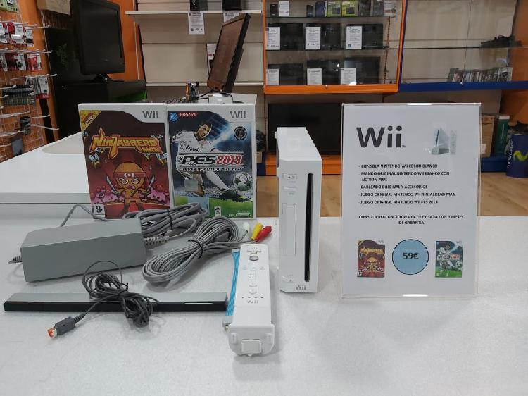 Nintendo Wii color blanco + 1 Mando + 2 Juegos