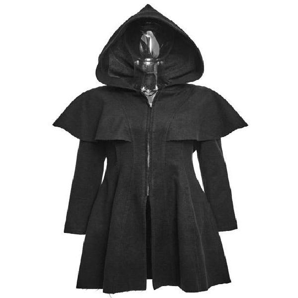 Punk rave abrigo capa gotico capucha pico negro