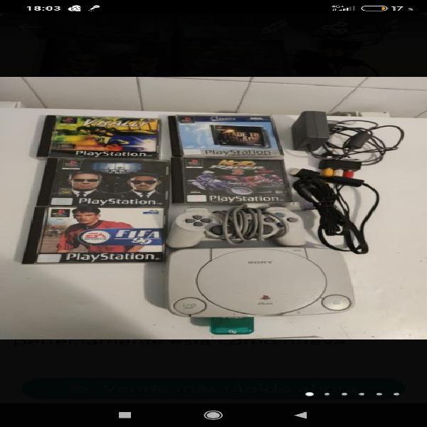 PlayStation 1 ps1 psx con 5 juegos