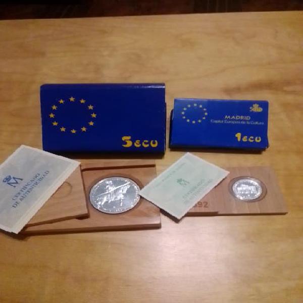 Dos monedas 5 ecu y 1 ecu por 25 euro.