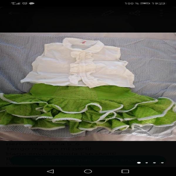 Falda y camisa flamenca, talla 5-6