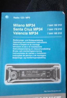 Auto radio/cd/mp3 blaupunkt milano mp34
