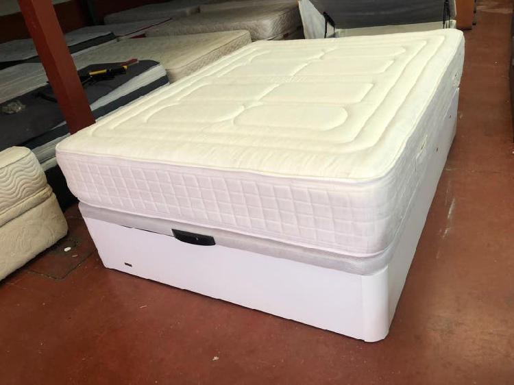 150x190 canape madera blanco granbox colchon aspo