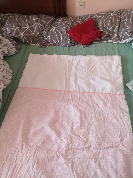 Conjunto cuna bebé niña, rosado. juego de cuna