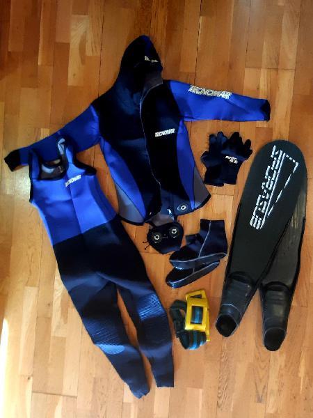 Equipo buceo, neopreno, diving, espeleología