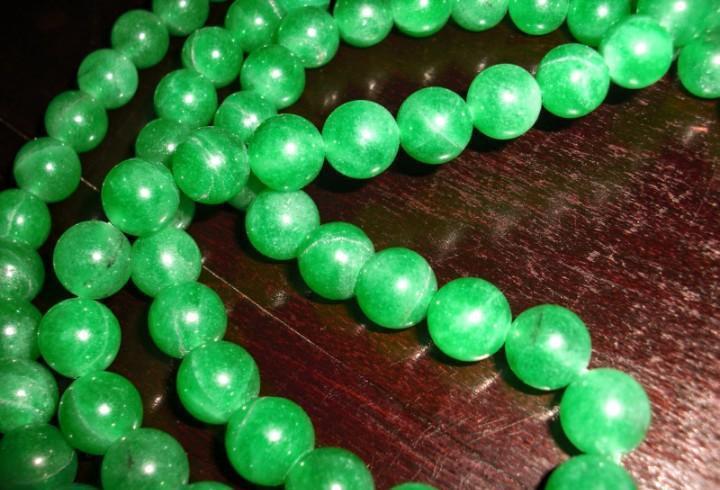Auténtico collar antiguo 108 cuentas esféricas de jade 10