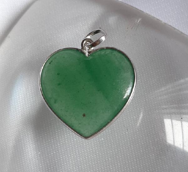 Corazón piedra aventurina verde ribeteada en plata de ley,