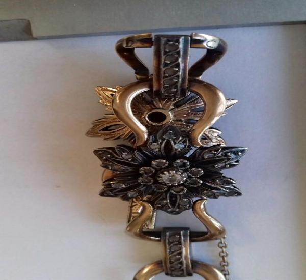 Pulsera isabelina oro, plata, zafiros y perlas