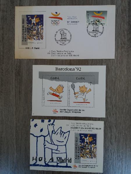 Cobi sellos. hojas bloque y sobre primer día