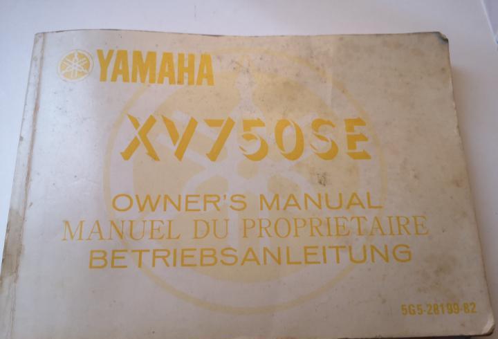 Manual de propietario yamaha xv750se. años 50. inglés,