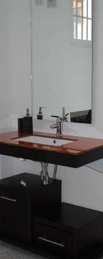 Conjunto mueble encimera cristal lavabo