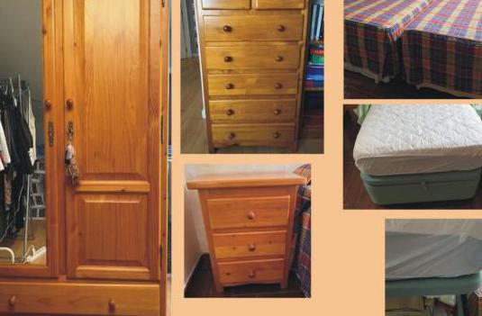 Habitación completa madera pino y camas