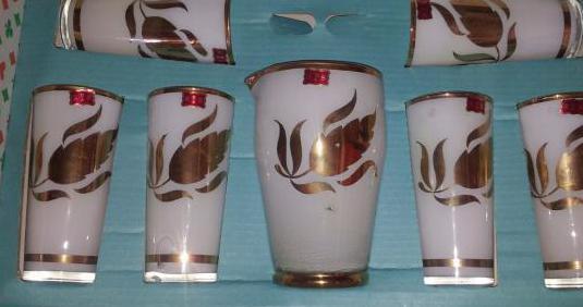 Juego de vasos de cristal vintage