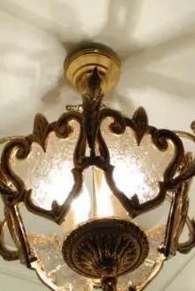 Lámpara de techo en bronce y cristal