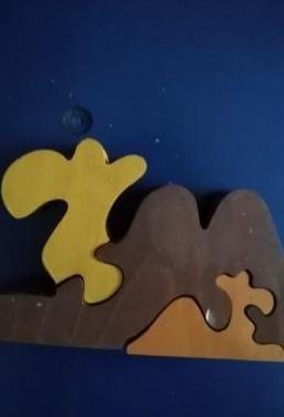 Camello en madera padre e hijo