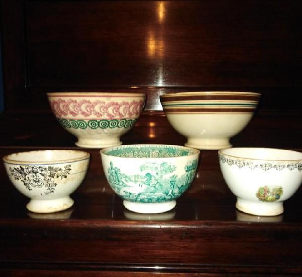 Antiguos tazones de porcelana, siglo xix