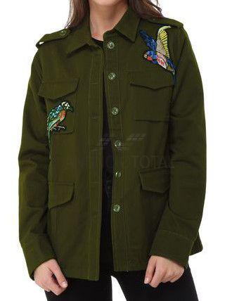 Chaqueta aplicaciones decorativas verde militar talla 40