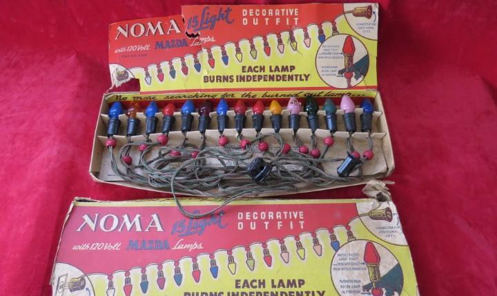 Conjunto luces de navidad antiguas - made usa - marca noma