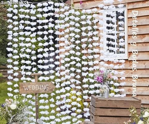 Cortina Guinalda Floral Blanca. Mesa Dulce, boda, comunion,