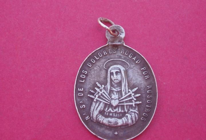 Medalla siglo xix en plata virgen de los dolores siete