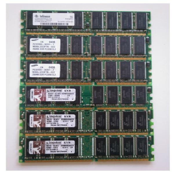 Pack 6uds memorias ram (2x2gb/2x512mb/2x256mb)