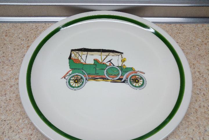 Plato de porcelaza porzelanit coche antiguo, ceramica blanca