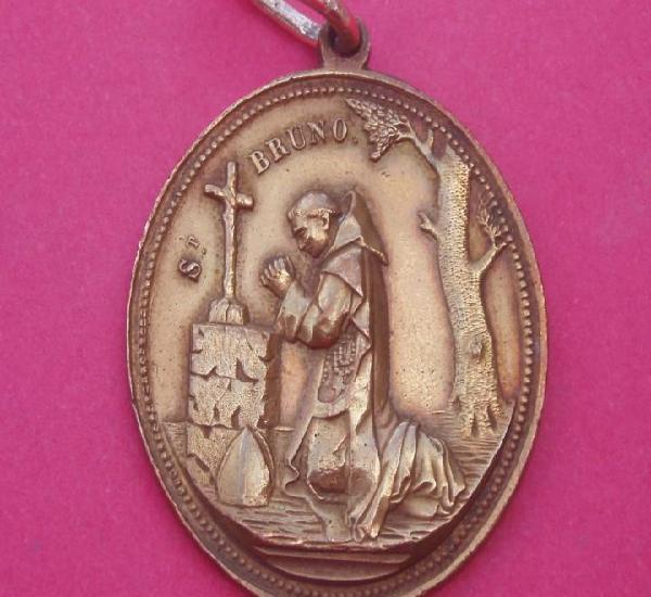 Preciosa medalla siglo xix san bruno y sagrados corazones.