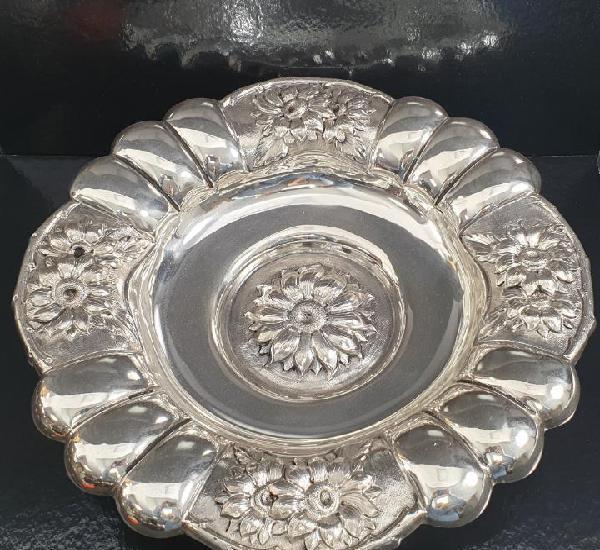 Cesto plato o bandeja en plata ley marcado con contraste
