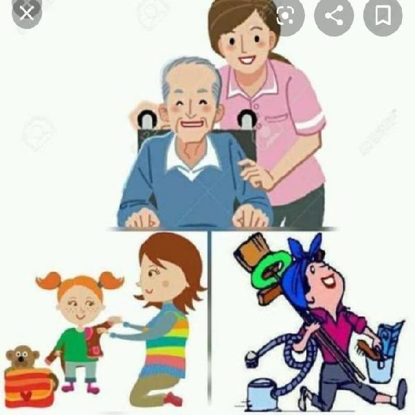 Cuidadora, niñera y limpiadora