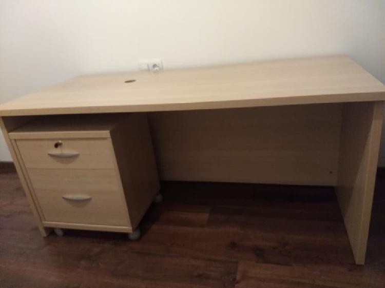 Mesa de oficina + archivador d madera dura natural