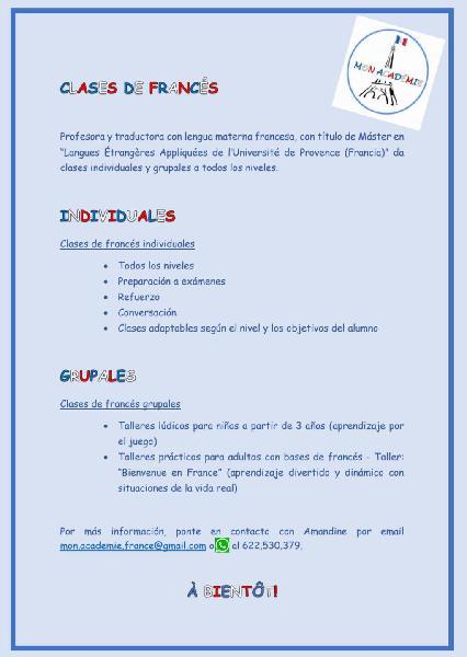 Clases de francés individuales y grupales