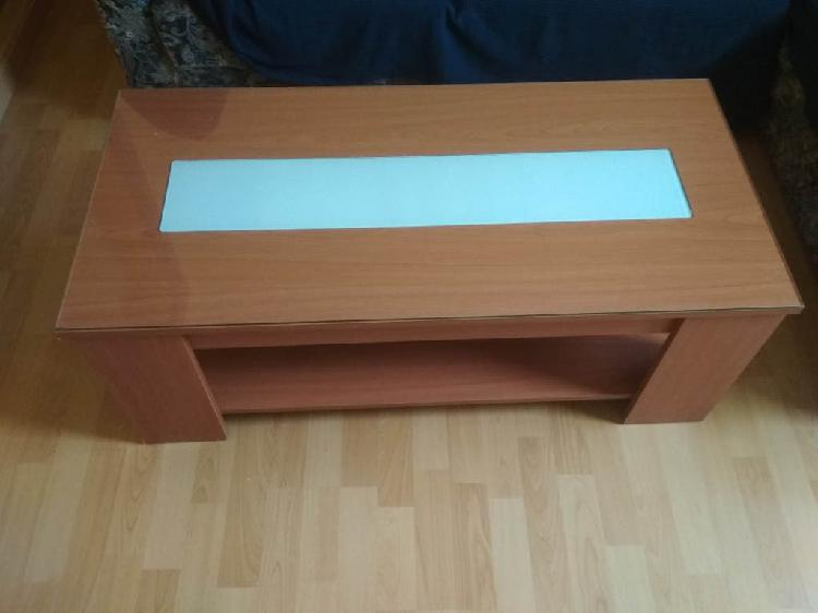 Mesa baja con cristal y balda inferior