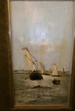 Barcos - oleo sobre tabla s.xix o s. xx