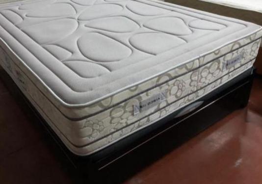 Cama 135x190 canape lacado negro+colchon visco