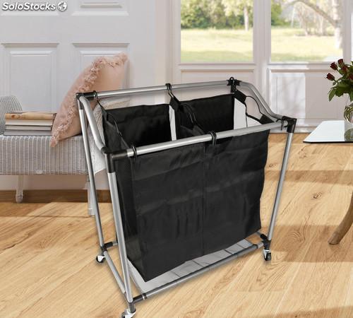 Carrito de ropa sucia con ruedas 2 bolsas 78x38x83cm
