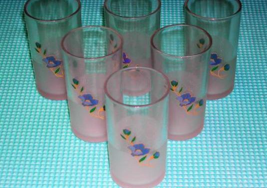 Lote 6 vasos cristal ahumado con flores