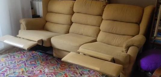 Sofá confort 3 plazas, 2 reclinables