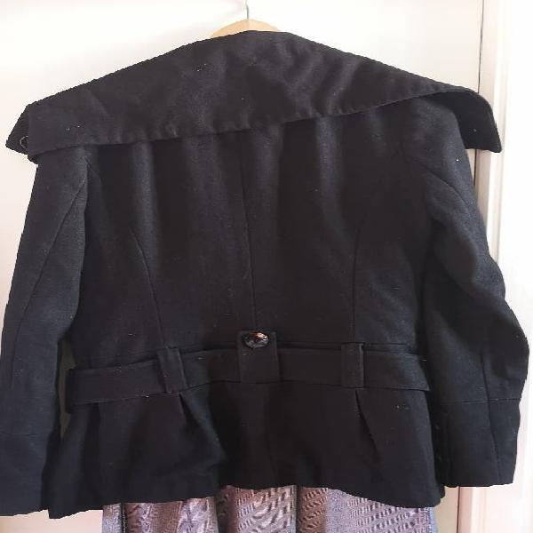 Abrigo negro paño talla m.