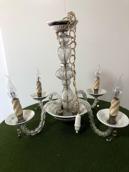 Lámpara de techo cristal y porcelana